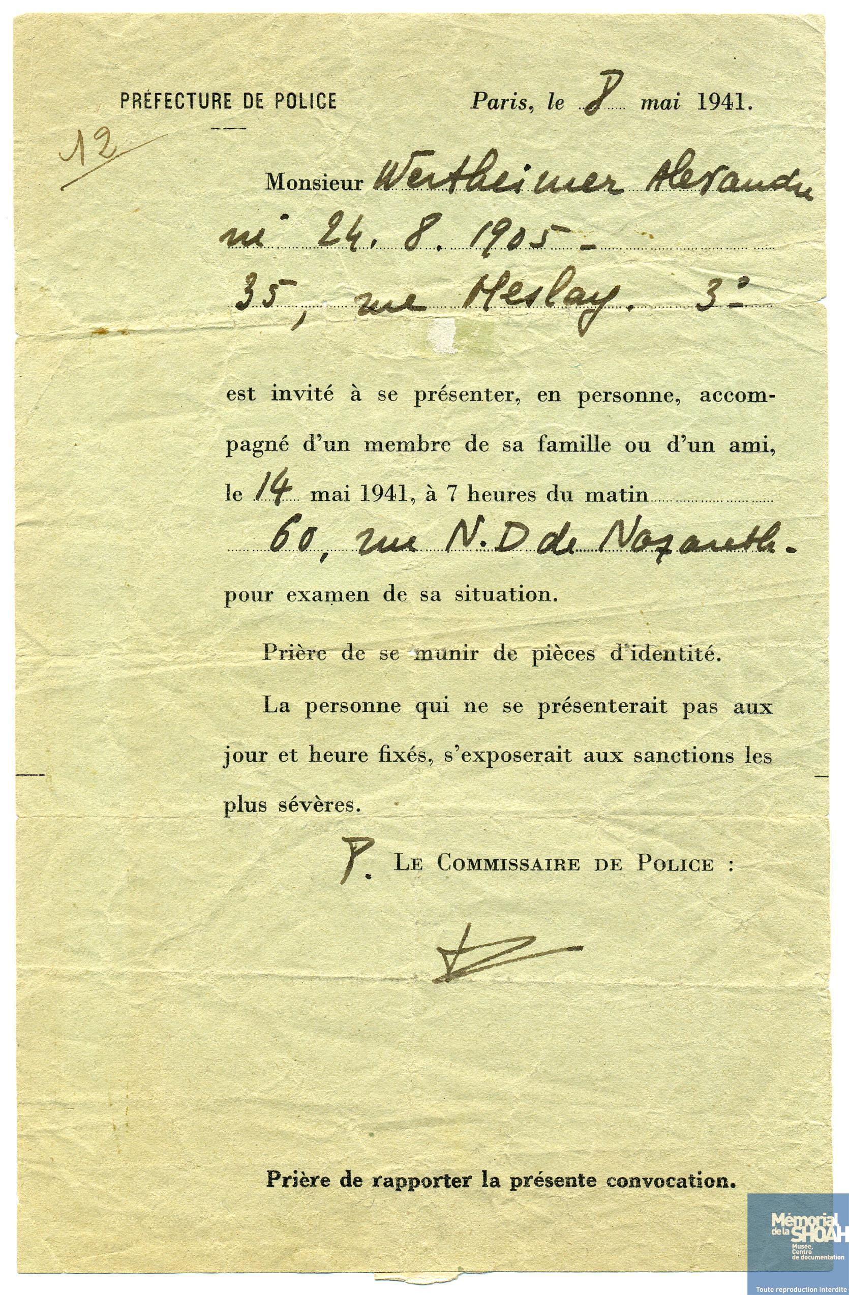 Convocation dite du billet vert manant de la - Prefecture de police porte de clignancourt ...